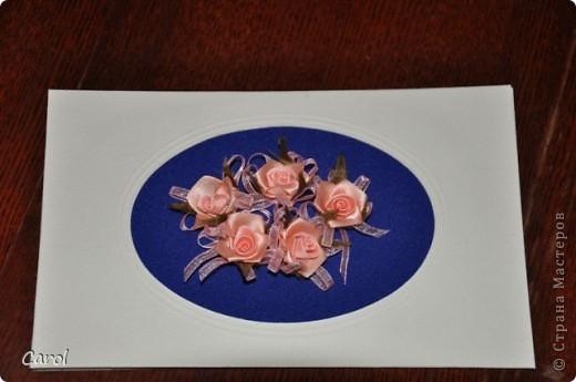 Открытка на 8 марта Розы шились отдельно и пришивались на ткань. Размер открытки 12 х18 см.  фото 1
