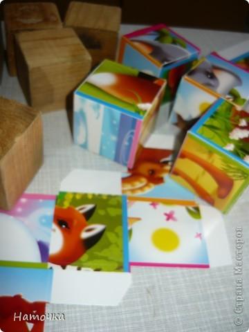 """У меня маленькая дочка. Решила ее порадовать """"новыми"""" кубиками. Собрала старые облезлые кубики, вымыла их и решила обклеить картинками.  фото 4"""