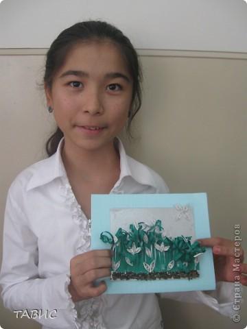 """Это - Жанона, моя ученица, одноклассница Малички и ее прекрасная работа""""Подснежники"""". фото 1"""