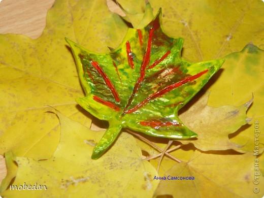 Кленовый лист (брошь) фото 1