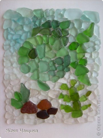 Давно лежали стеклышки, собранные на берегу моря, наконец-то я нашла им применение фото 1