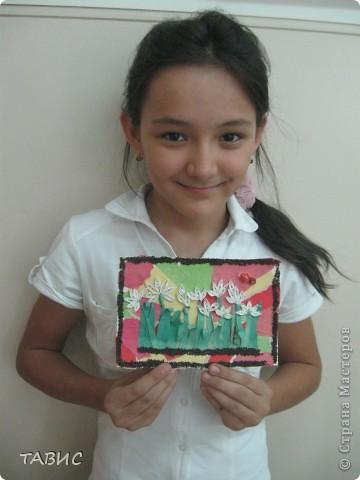 """Это - Жанона, моя ученица, одноклассница Малички и ее прекрасная работа""""Подснежники"""". фото 2"""