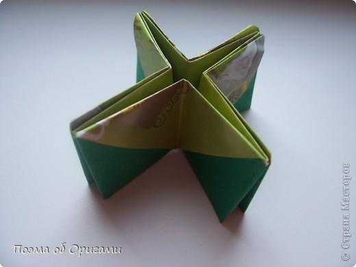 Вазочка под названием «Ленивая Сьюзи» необычная для оригами модель, так как имеет округлую форму и взята из книги Рик Бича «Оригами». фото 9