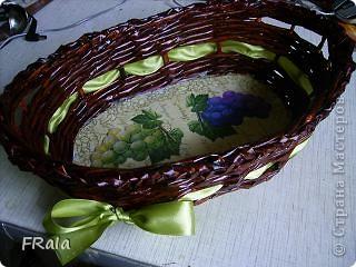 Очередная корзинка в подарок.Красила морилкой мокко и лак лиственница,декупаж покрыт аквалаком безцветным. фото 1