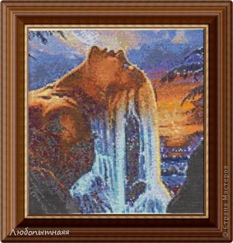 Водопад, с сайта Иголки.нет. Ужасный прогон, но оставлять было жалко, закончила. фото 1