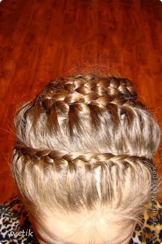 Для школы. Прическа 1 . Плету из хвоста 3 косички, потом из них плету одну. фото 11