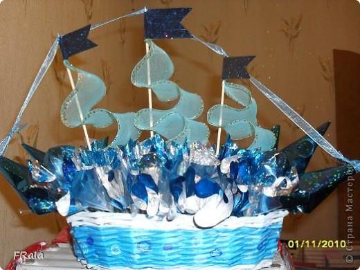Вот ,оказывается,для чего был заказ на голубую корзинку!Это будет подарок нашему Димарику на день рождения.Сделано моей дочерью. фото 1