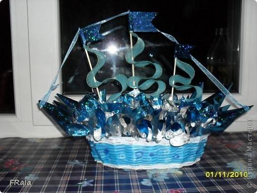 Вот ,оказывается,для чего был заказ на голубую корзинку!Это будет подарок нашему Димарику на день рождения.Сделано моей дочерью. фото 2