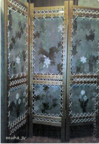 Ширма своими руками. Изготовленная из древесины (отходы ) и декорированная остатками кожи. фото 1