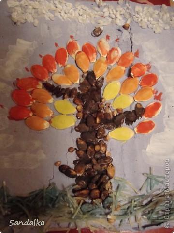 Дерево из риса, макарон семян арбуза и тыквы :))
