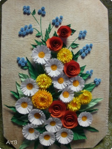 Панно из цветов из бумаги