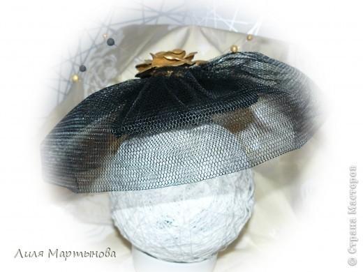 """Декоративная дамская шляпка с вуалью """"Вечная классика"""" фото 3"""