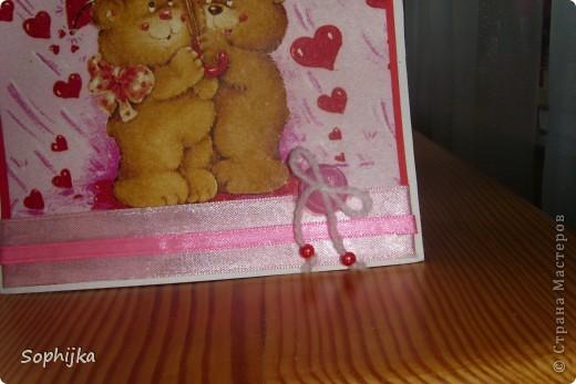 """Вот такую открыточку сделала в подарок подружке на день рождение! Подтолкнула к такой """"романтичной"""" теме  песенка""""А ты мене любиш..."""" Ми все время подпеваем ее по дороге из школы. Как раз салфеточка такая оказалась! фото 2"""