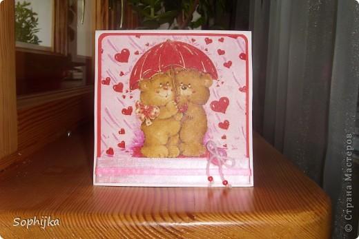 """Вот такую открыточку сделала в подарок подружке на день рождение! Подтолкнула к такой """"романтичной"""" теме  песенка""""А ты мене любиш..."""" Ми все время подпеваем ее по дороге из школы. Как раз салфеточка такая оказалась! фото 3"""