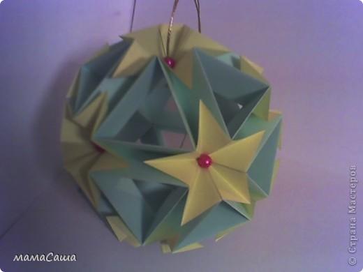 Многие кусудамки нашли себе новых хозяев и , вот, новое пополнение. Кусудама на основе модуля Magic Rose Cube by Valery Vann 30 модулей без клея.  фото 4