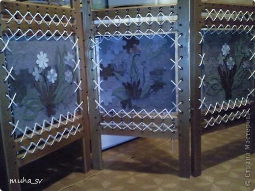 Ширма своими руками. Изготовленная из древесины (отходы ) и декорированная остатками кожи. фото 16