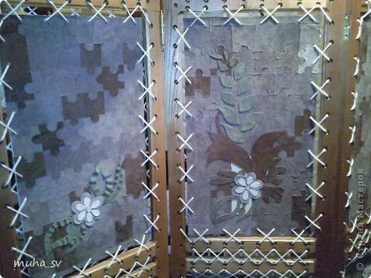 Ширма своими руками. Изготовленная из древесины (отходы ) и декорированная остатками кожи. фото 17