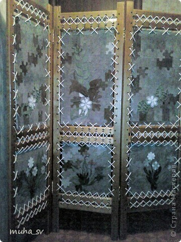 Ширма своими руками. Изготовленная из древесины (отходы ) и декорированная остатками кожи. фото 18