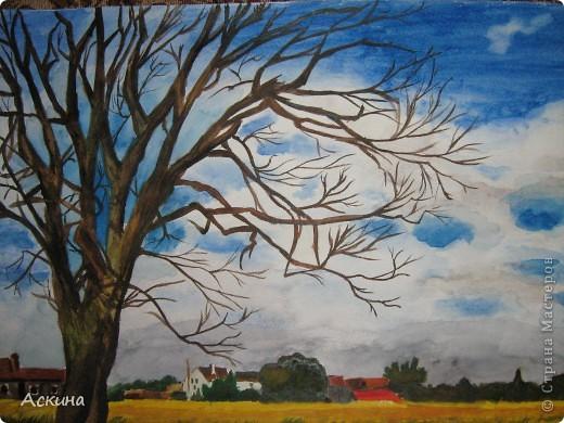 Очень люблю рисовать. Поэтому даже купила самоучитель и теперь рисую по нему. Одинокое дерево. фото 5