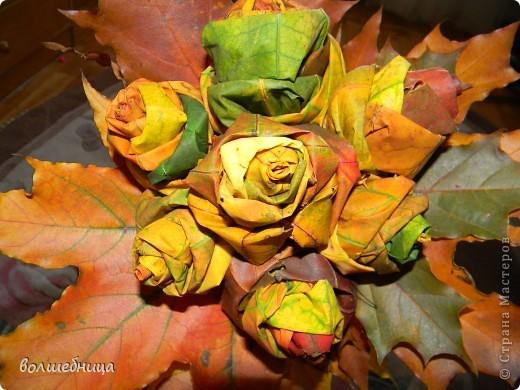 букет роз из листьев!!!