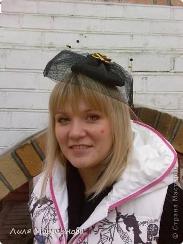 """Декоративная дамская шляпка с вуалью """"Вечная классика"""" фото 4"""