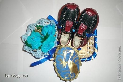 У классной руководительницы сына, родился внук, вот мы и решили подарить сандалики.  И конечно постарались упаковать в духе Страны Мастеров! фото 1