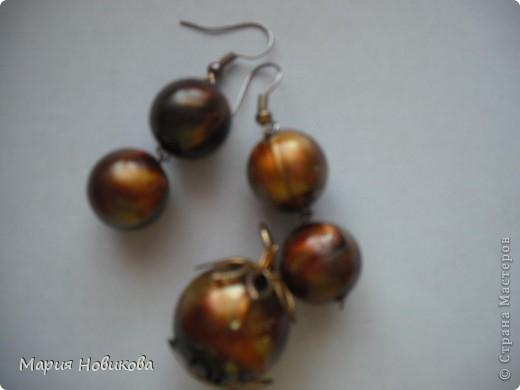 Было старое мамино ожерелье, а стали мои новенькие сережки )) фото 4