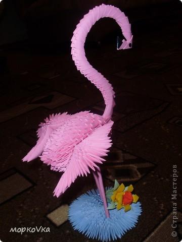 Поделка изделие Оригами китайское модульное Розовый фламинго Бумага фото 1.