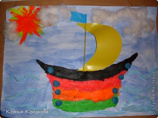 А вот кораблик Никиты,ему 4 года,аккуратный и способный ученик. фото 1