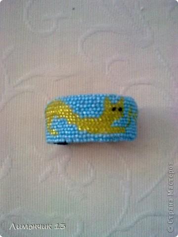 Вышитый бисером браслет с кошкой фото 3