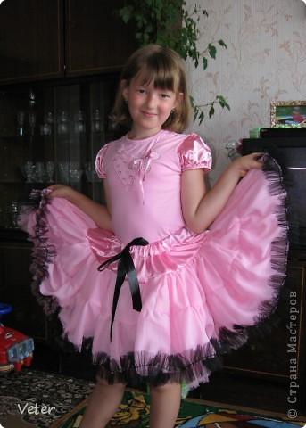 Юбка американка для дочки. Сшито из шифона , кокетка- креп сатин (вроде так называется), рюши- сетка. Юбка состоит из двух слоев.  фото 1