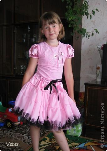 Юбка американка для дочки. Сшито из шифона , кокетка- креп сатин (вроде так называется), рюши- сетка. Юбка состоит из двух слоев.  фото 2