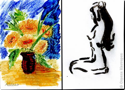 Если рисовать восковым карандашом по горячему картону, то может получиться интересный эффект (мне кажется на масляные краски похоже)) фото 1