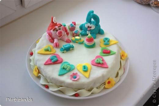 Мой первый мастичный тортик на день рождения сына, с его любимыми мультяшками фото 1