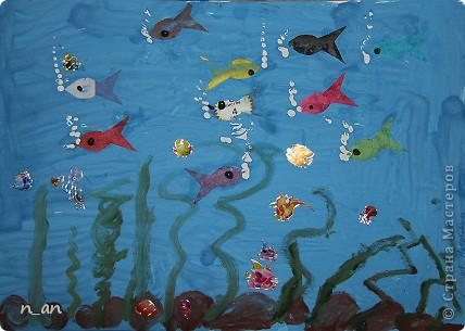 """Вот мы продолжаем наши """"хвастушки"""". Это наши работы сделанные на уроке рисования. Это рыбки на гипсе. Мне они очень нравятся фото 7"""
