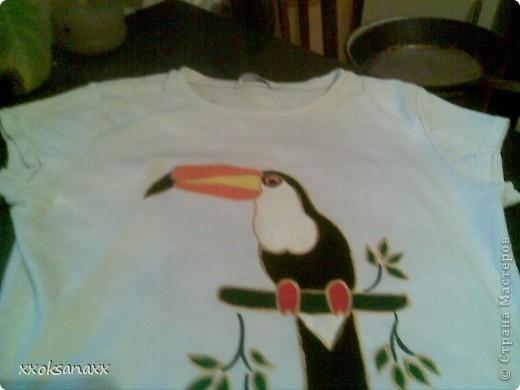 сначала была белая футболка,а потом со временем и стиркой посерела,так я решила ее разукрасить. фото 2
