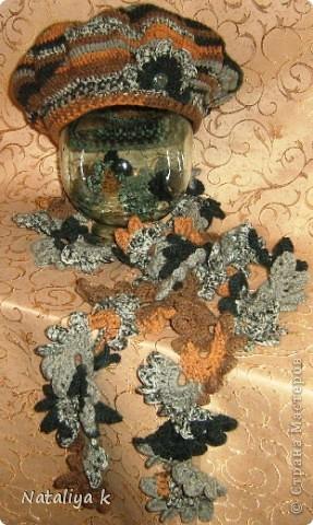 """Нас по-прежнему балует золотая осень-вот и настроение такое """"листопадно-золотое"""" )))  Полушерсть YarnАrt CRAZY COLOR.100 гр.на берет +100 гр.на шарфик . фото 2"""