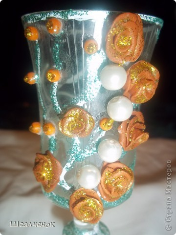 Мои первенцы мини  бокальчики.И очередная  бутылочка . фото 9