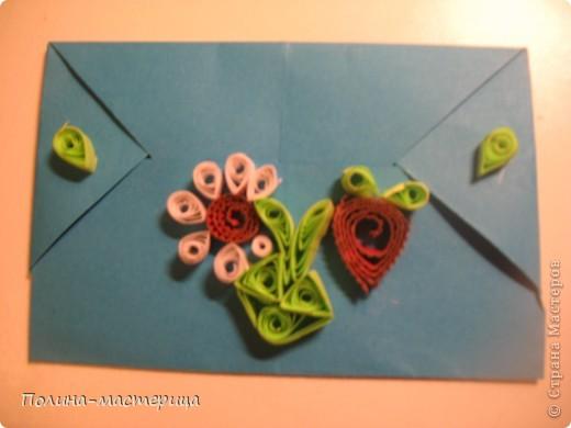 Конвертик в технике квиллинг. Цветочек и ягодка. фото 1