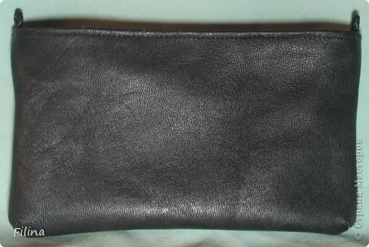Клатч кожаный, вставка - текстиль+декупаж фото 2