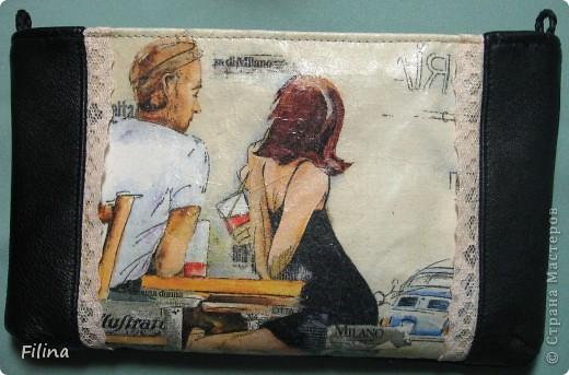 Клатч кожаный, вставка - текстиль+декупаж фото 1
