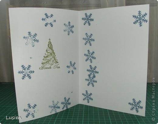 А эту открытку для Деда Мороза сделал Иван. Я только вырезала детали. А он сам дыроколил, штамповал и приклеивал! фото 2