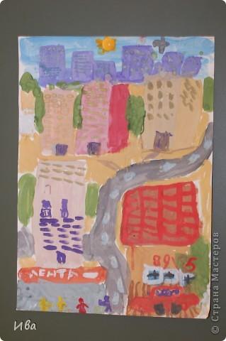 Коллективная работа по теме город.Ученики в возрасте 6-8 лет. Работа на ватмане. фото 13