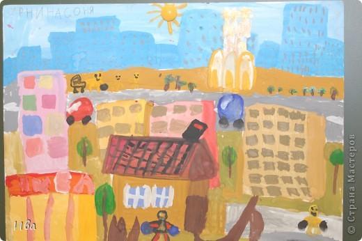 Коллективная работа по теме город.Ученики в возрасте 6-8 лет. Работа на ватмане. фото 10