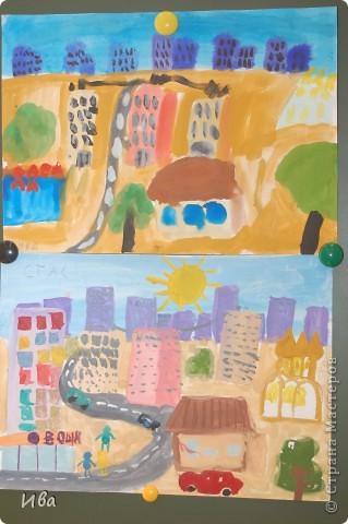 Коллективная работа по теме город.Ученики в возрасте 6-8 лет. Работа на ватмане. фото 9