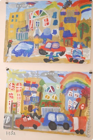 Коллективная работа по теме город.Ученики в возрасте 6-8 лет. Работа на ватмане. фото 6