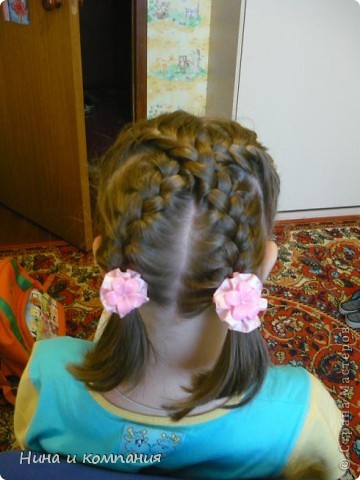 Эту прическу я делала дочке на отчетный концерт, которым завершались сборы по бальным танцам. фото 5