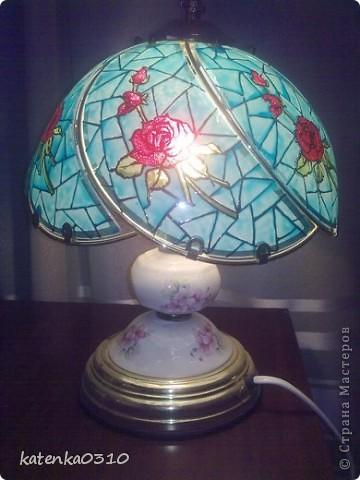 стояла скучная китайская лампа, вот до нее и добрались мои руки. К сожалению нет фото до переделки. фото 3