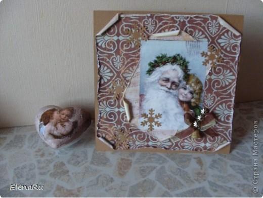 Винтажные открытка и елочная игрушка (декупаж) фото 1