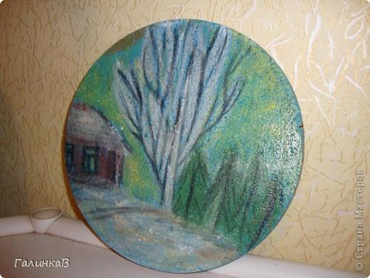 Нарисовано пастелью и покрыто лаком. Основа - пробковая подставка под горячее фото 1